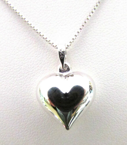 Funky 925 Sterling Silver 15mm Puffed Heart Pendant Without a Chain