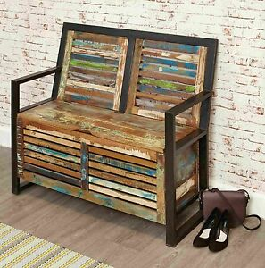 Urban Chic Reclaimed Wood Indian Furniture Hallway Shoe Storage