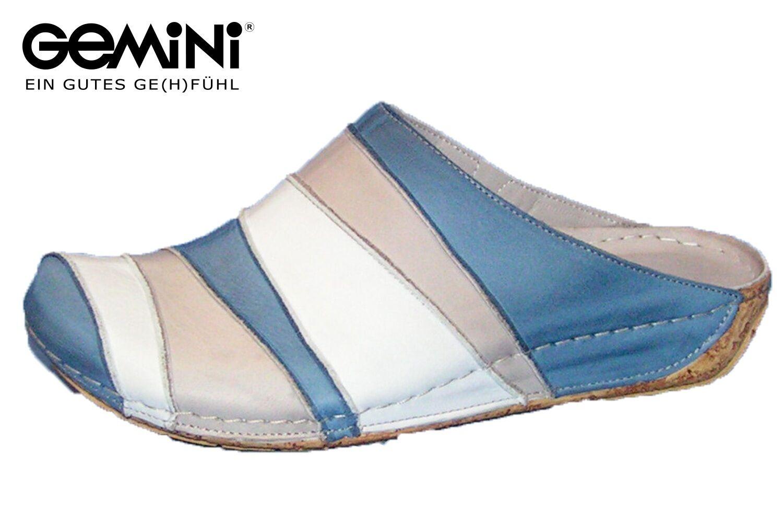 Gemini Damen Pantolette Kitty geschlossen Blau Leder Schuhe 32091 Clogs NEU