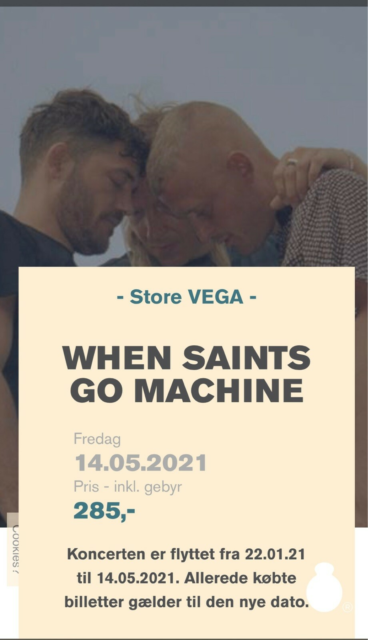 When Saints go Machine, Koncert, Store Vega, d. 14-05-2021,…
