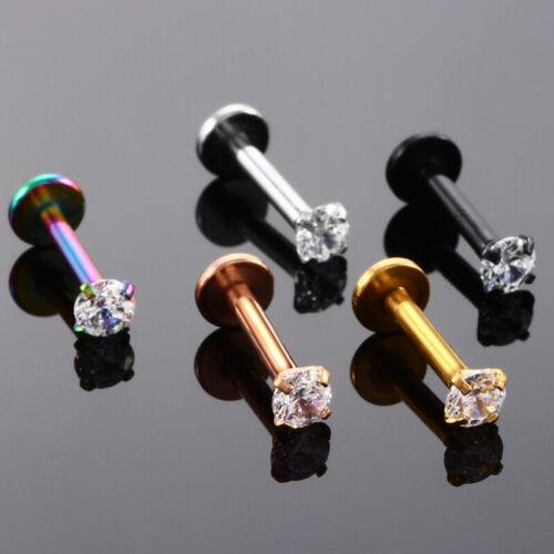 18G Earring Lip Ring Zircon Helix Tragus Piercing Cartilage Stud Body Jew 2
