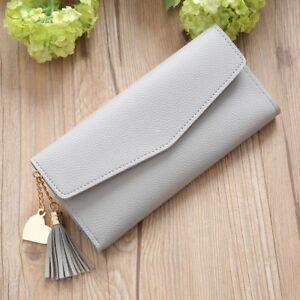 Leather-Zipper-amp-Hasp-Tassel-Credit-Card-Holder-Women-Wallet-Coin-Purse-Handbag