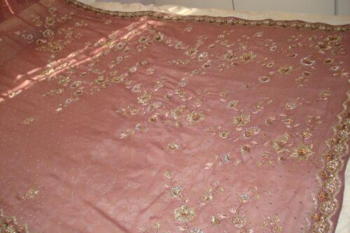para indio Bollywood Sari Tela Traje Lentejuelas el hogar Muebles Lila Oro Tela Lengha vHSHw