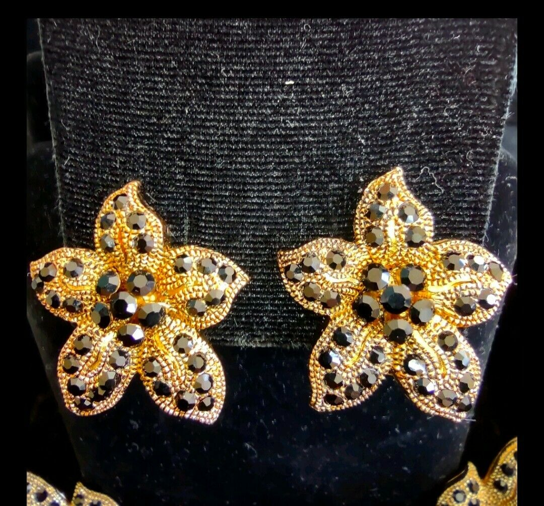 VTG leopard rhinestone necklace clip earrings set - image 3