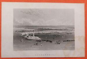 100% QualitäT Ansicht Alexandria Hafen Engraving Um 1880