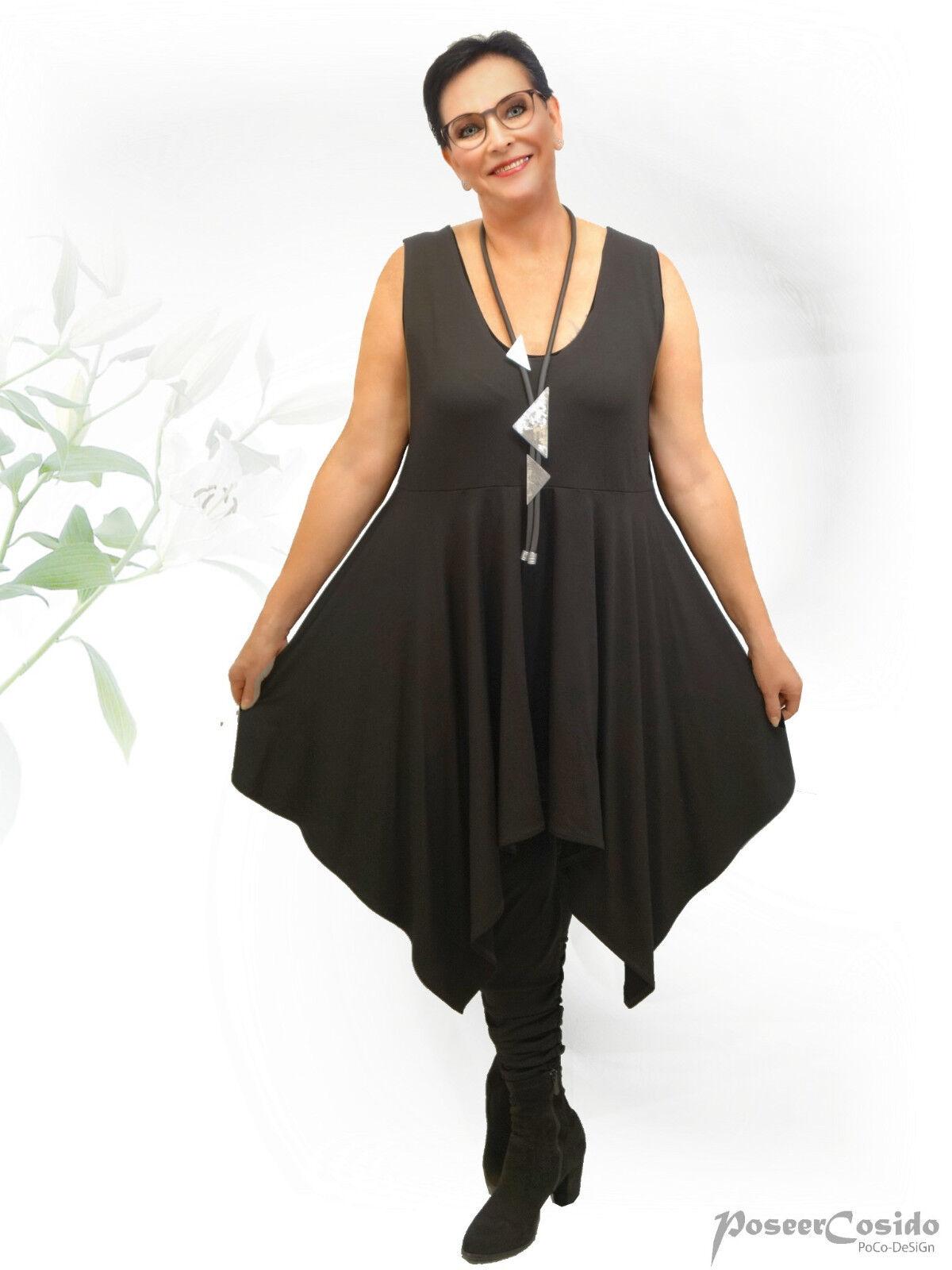POCO Design Look Top Long-shirt tunique schwarz rundsaum 44-58 L-XL-XXL-XXXL