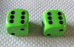Set-of-2-LIME-GREEN-DICE-DUST-VALVE-CAPS-MINI-CAR-VW-BMX