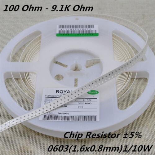 Resistencia Chip 200 un.//Lot 0603 ± 5/% 1//10W SMD//SMT Resistencia 100R 1K 4K7 a 9.1K