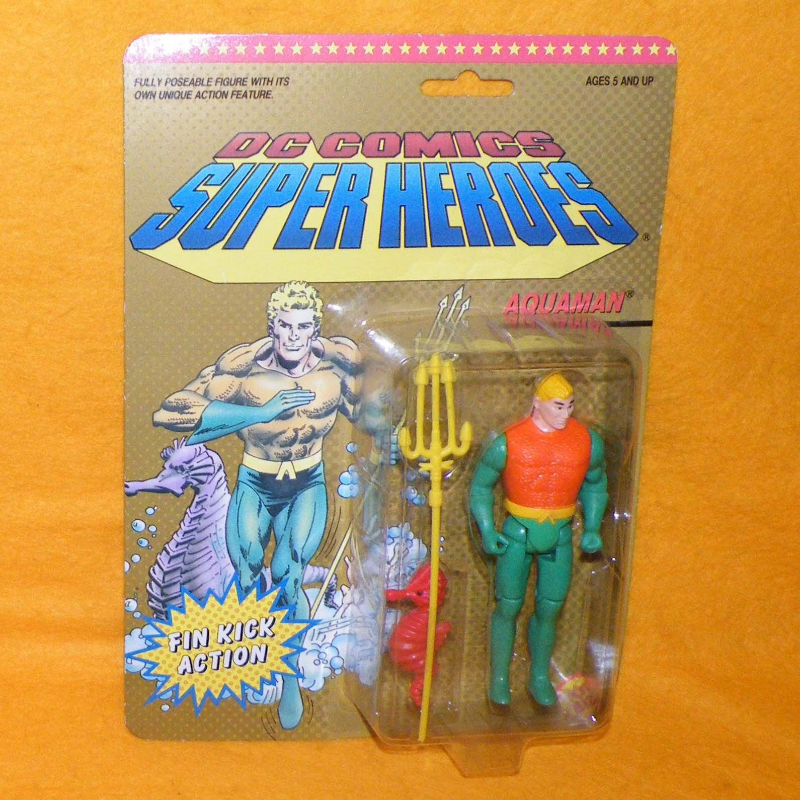 VINTAGE 1990 90s TOY BIZ DC COMICS SUPER HEROES AQUAMAN ACTION FIGURE MOC CARDED