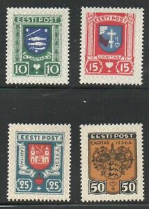 Estonia-Sc-B28-31-1936-Coats-of-Arms-charity-stamp-set-mint