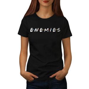 Wellcoda-Freunde-oder-Feinde-Damen-T-Shirt-Serie-Casual-Design-Printed-Tee