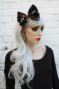 Big-Black-Hair-Bow-Gothic-Skull-Rockabilly-Loli-Goth-Vintage-50-039-s-Style-Kawaii