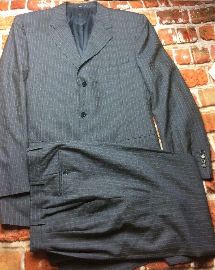 Canali Men's 120's Wool Navy Pinstripe 2 Piece Suit 44 Long Pants 34x30 (T3)