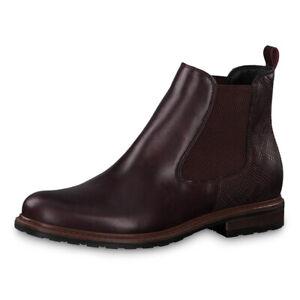 Details zu Tamaris Damen Stiefeletten Chealsea 25056 23 Leder Boots Schuhe Bordeaux (rot)
