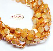 Perlmutt Linsen 10mm orange AB Muschelperlen Perlen, 1Strang BACATUS Perlen