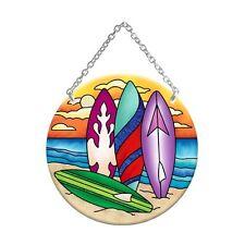 Joan Baker Designs COLORFUL SURFBOARDS Painted Glass Medium Circle Suncatcher