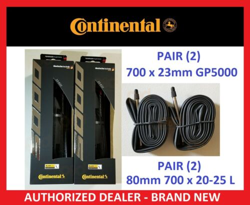 2019 PAIR 2 CONTINENTAL Grand Prix GP 5000 Clincher 700 x 23 TIRES TUBES 80 mm