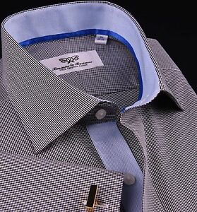 Mini-Grey-Black-Gingham-Check-Formal-Business-Dress-Shirt-Light-Blue-Cool-Oxford