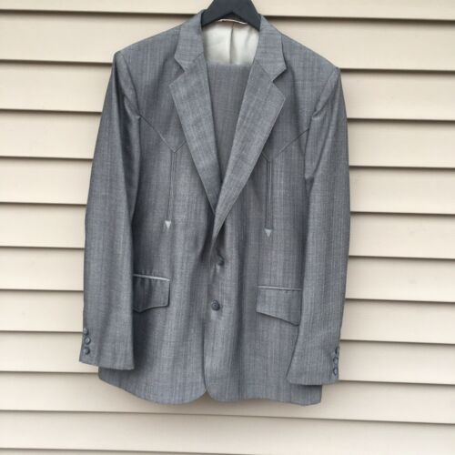 Vintage H Bar C 2 Piece Western Suit Grey 44R