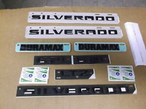 2019-Chevrolet-Silverado-Duramax-LTZ-Black-8-Piece-Emblem-Kit-84300952-OEM-GM-19
