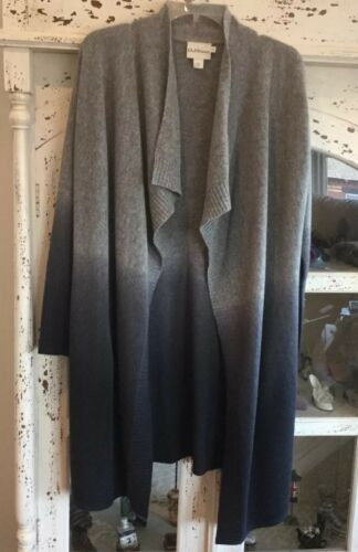 Long 200 Cascade S Cardigan Grey Ombre Bnwot Rrp p Dkny Pure PwfFtt