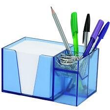 Acrimet Desk Organizer Pencil Paper Clip Holder Clear Blue Color With Paper