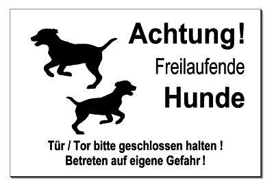 Warnen Freilaufende-hunde-alu-schild-3 Größen-türschild-alarm-video-warnschild-top Professionelles Design