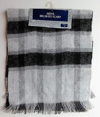 Vintage grey check scarf UNUSED 1980s soft brushed acrylic Tesco washable mens