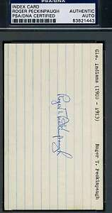 Roger Peckinpaugh Signed Psa/dna Certified 3x5 Index Card Authentic Autograph