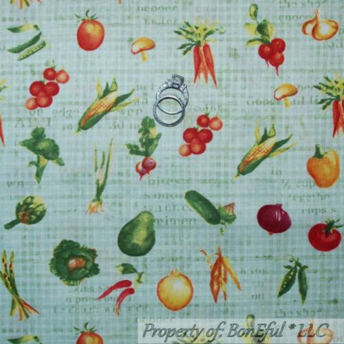 BonEful Fabric FQ Cotton Quilt Green Red Tomato Mu*shroom Carrot Pepper Kitchen