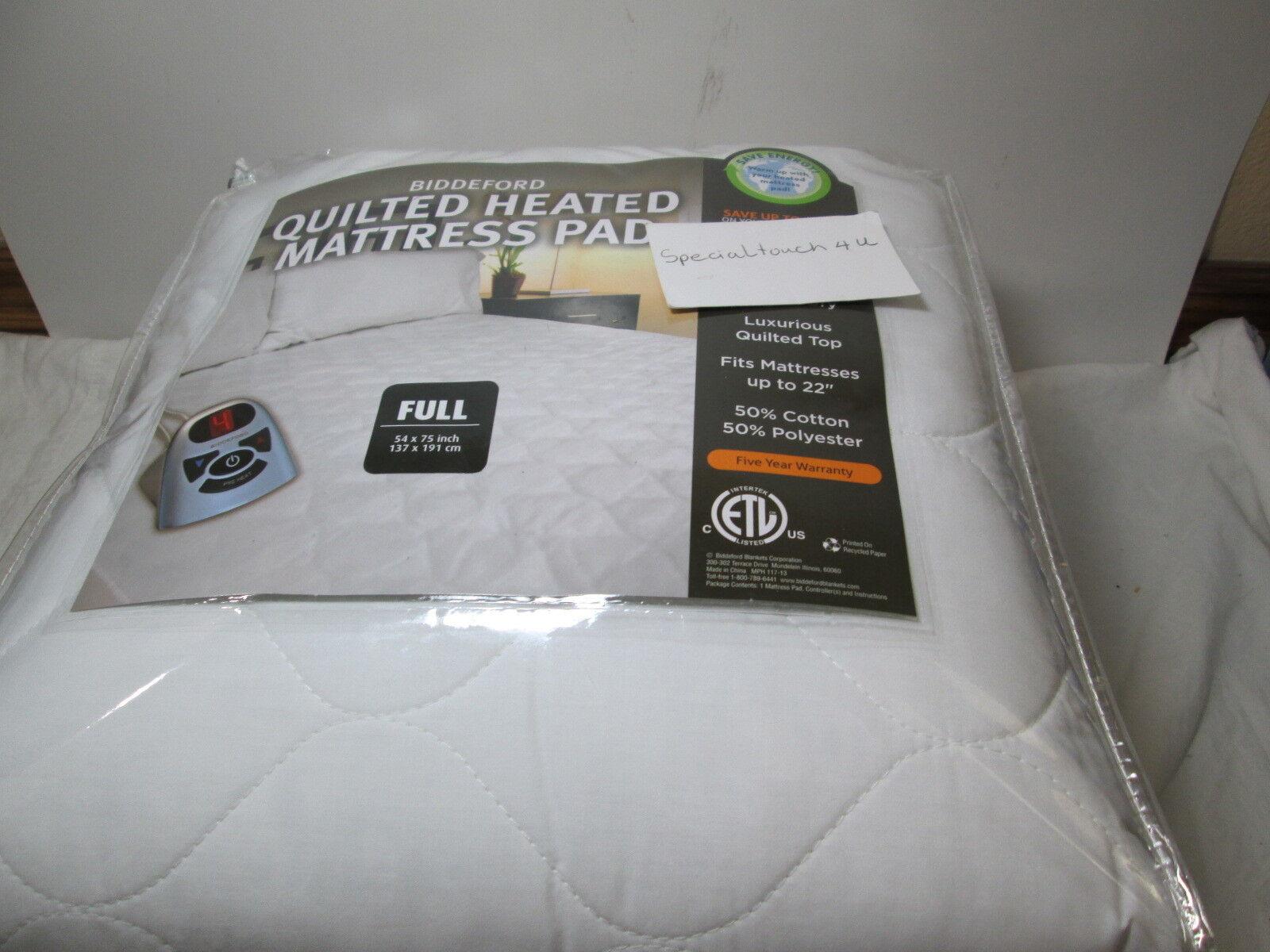 New Biddeford Full Quilted Heated Mattress Pad  - 10 Hour Auto Shut Off - Weiß