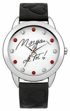Morgan De Toi Ladies Watch MAR1163B with White Dial, Black Faux Leather Strap