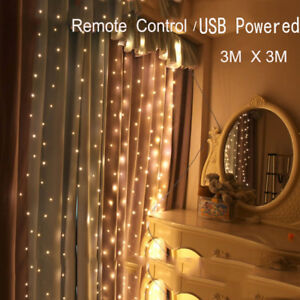 Remote-3x3M-300LEDs-Light-Icicle-Curtain-String-Fairy-Lights-Xmas-Wedding-Party