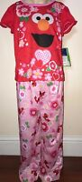 Elmo Girls Pink And Red 2 Piece Pajamas Size 4t