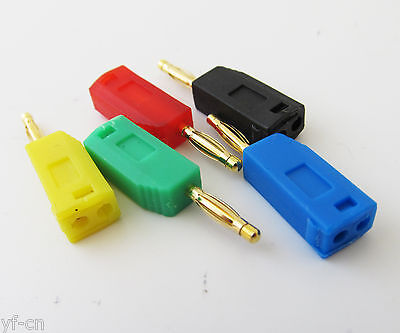 Optional Qty Mini 2mm Gold Pin Radioshack Stackable Banana Plug Male 5 color Lot