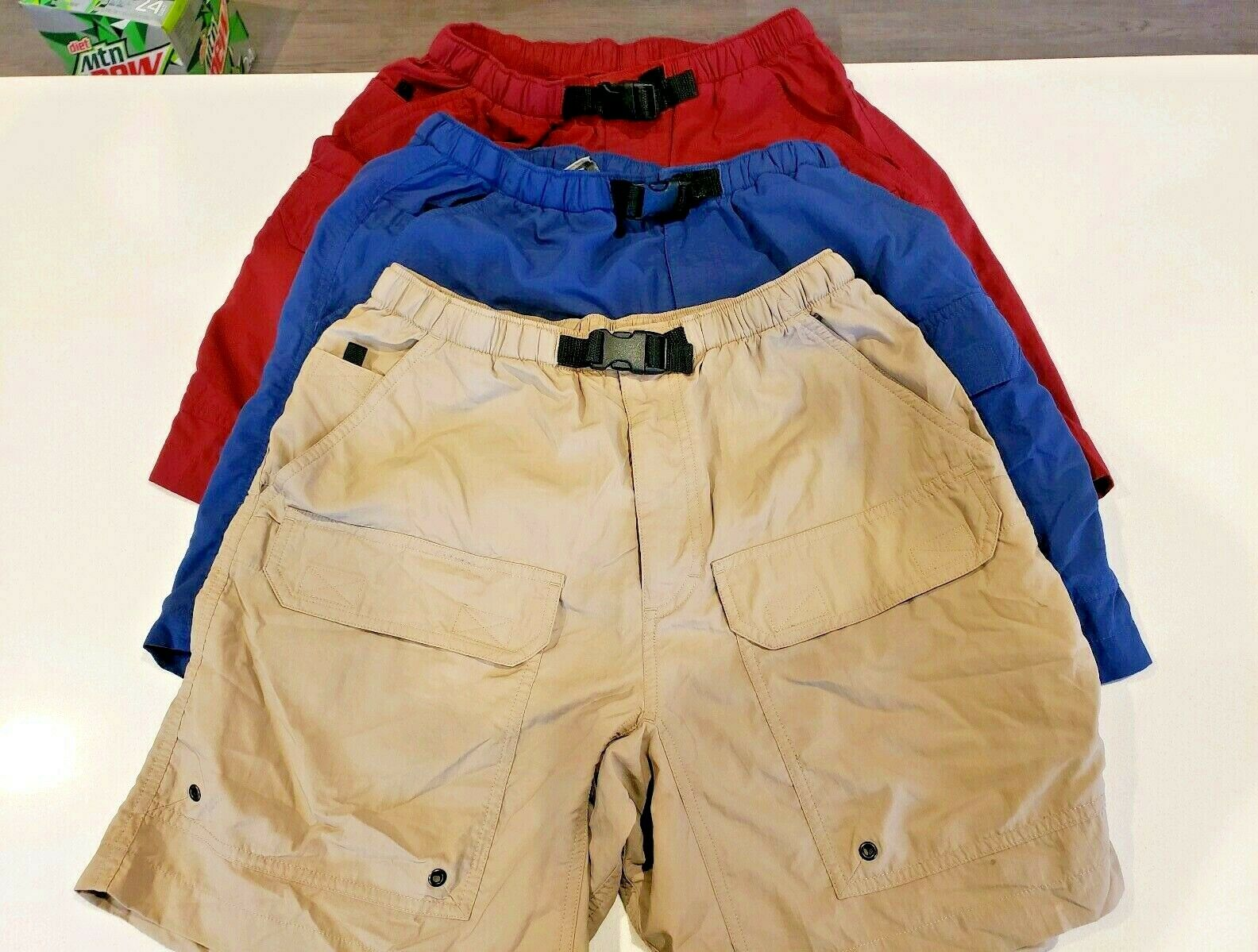 Men's EMS  Nylon Cargo Hiking Shorts Tan Red bluee Size Small Lot of 3