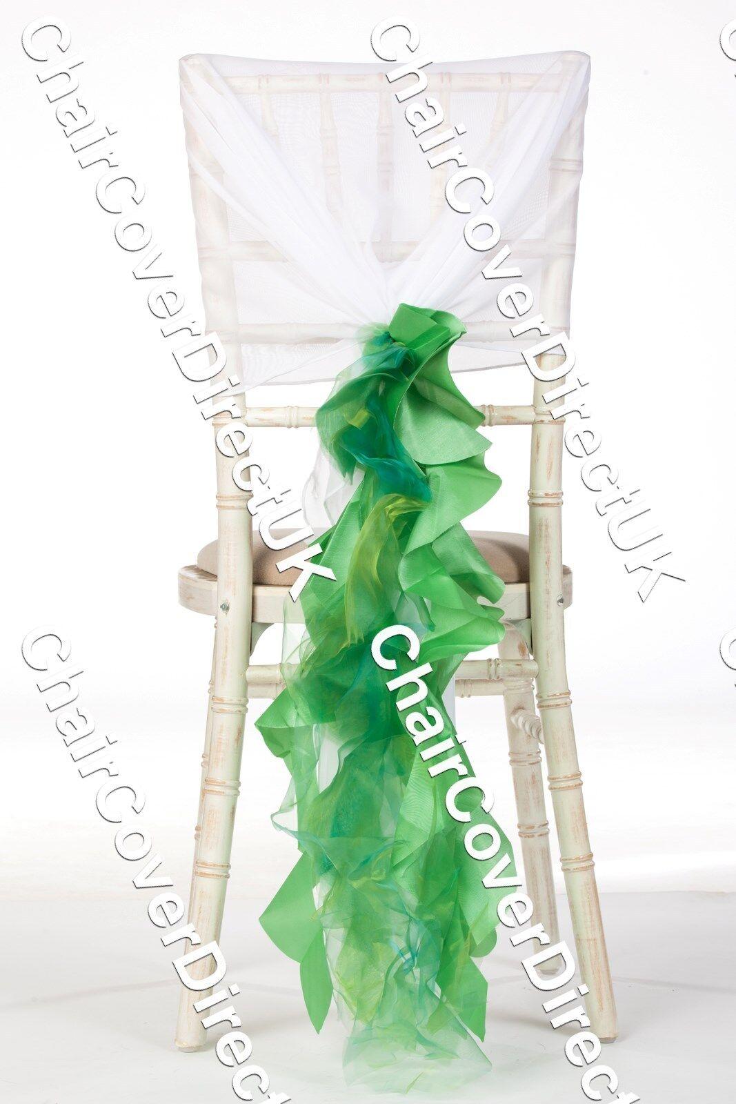 100 Vert Vif Organza & Taffetas Mélange Housse de Chaise écharpe Ruffle
