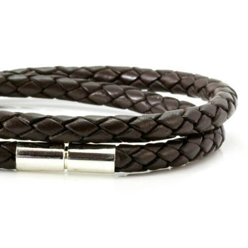 Mens Leather Bracelet-5mm Dark Brown Double Wrap Braided-Sterling Silver Clasp