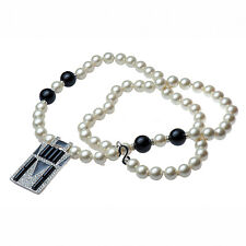 """Kenneth Jay Lane 36"""" white pearl necklace jet beads black/crystal deco pendant"""