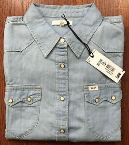 Lee-regular-Occidental-Camisa-Azul-Descolorido-L-516-bisq-ls-Snap-Boton-Ajustado