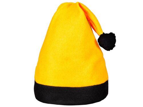 6 Stk Weihnachtsmützen Nikolaus-Mütze Christmas Gelb mit schwarzem Rand 42a