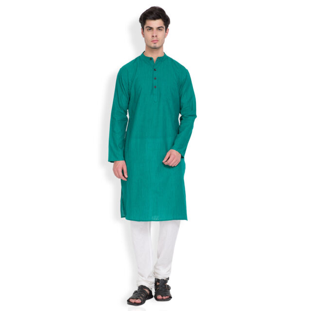 Svanik Green Stripe Cotton Classic Long Kurta. (SVLK1723)