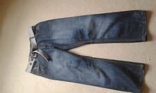"MENS UNBRANDED FADED BLUE BELTED JEANS SIZE 36"" WAIST 30"" LEG"