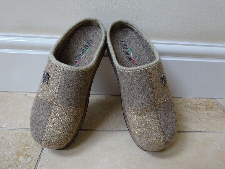 Florance Feutre Laine Chaussons Chaussures Mules Sabots Femme Taille 5 38 neuf beige italien