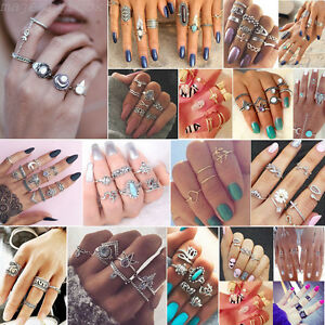 9Pcs-Set-Anello-Metallico-argento-meta-dito-Anello-knuckle-rings-Midi-Ring-Donna