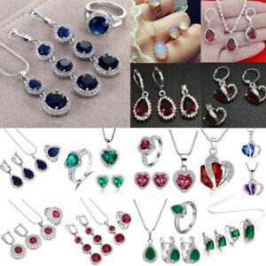 Women-925-Silver-Gemstone-Topaz-Pendant-Necklace-Rings-Earrings-Jewelry-Sets