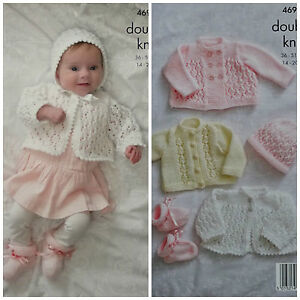 076f3eba3b97 KNITTING PATTERN Baby s Lacy Cardigan Coat Bootees   Bonnet DK KIng ...