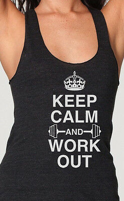 Keep Calm And Work Out Womens Racerback Tank Top American Apparel Running tank