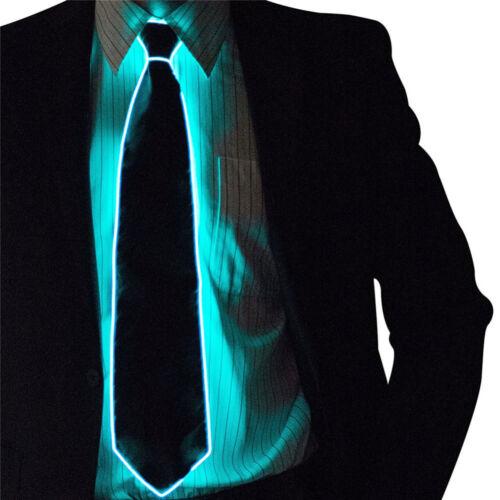 LED Flashing Glow In Dark Luminous EL Tie Necktie Light Up Men DJ Cosplay Props