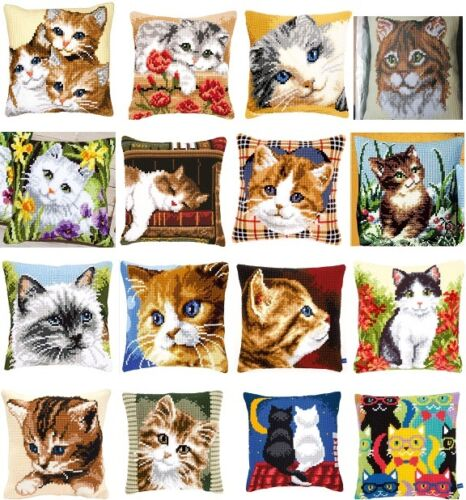 "CAT KITTEN Chunky Cross Stitch Cushion Front Kit 16/"" x 16/"" VERVACO"